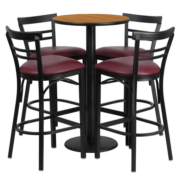 24'' Round Natural Table Set w/ 4 Bar Stools-Burgundy Seat RSRB1039-GG