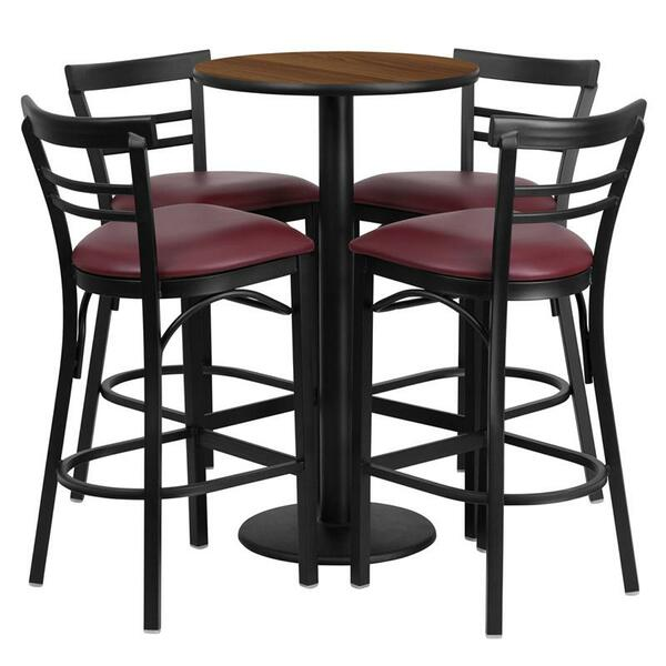24'' Round Walnut Table Set w/ 4 Bar Stools -Burgundy Seat RSRB1040-GG