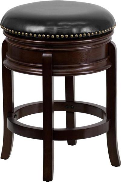 "24"" Backless Cappuccino Wood Stool w/Leather Swivel TA-68824-CA-CTR-GG"