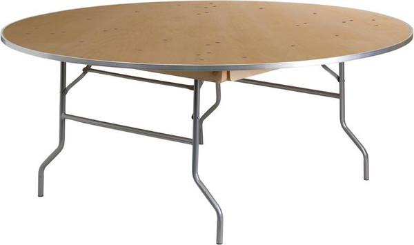 "72"" Rd. Birchwood Folding Banquet Table w/Edges XA-72-BIRCH-M-GG"