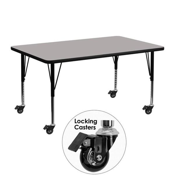 Activity Table w/ 1.25'' Grey Top XU-A2448-REC-GY-H-P-CAS-GG