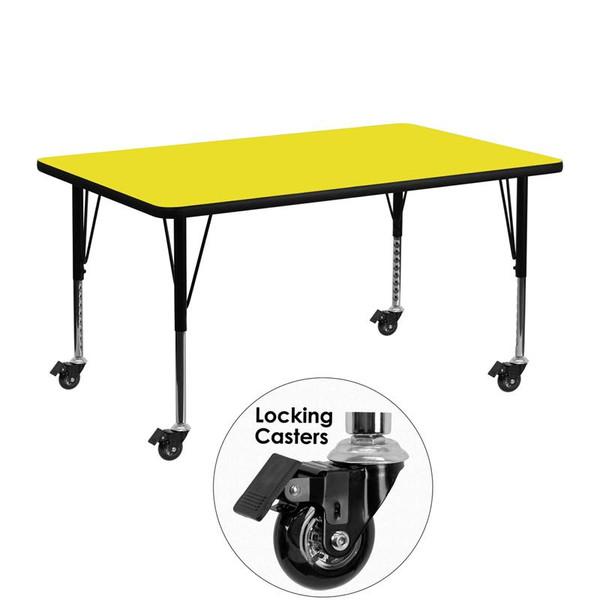 Activity Table w/ 1.25'' Yellow Top XU-A2448-REC-YEL-H-P-CAS-GG