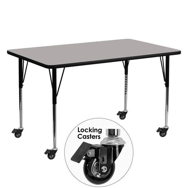 """24x60"""" Activity Table Grey Top & Adj. Legs XU-A2460-REC-GY-H-A-CAS-GG"""