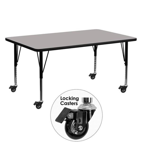 """24x60"""" Activity Table w/ 1.25'' Grey Top XU-A2460-REC-GY-H-P-CAS-GG"""