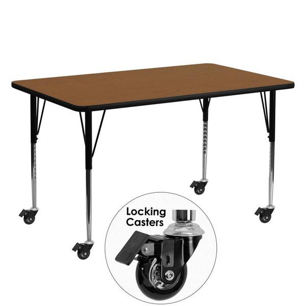 """24x60"""" Activity Table Oak Top & Adj. Legs XU-A2460-REC-OAK-H-A-CAS-GG"""