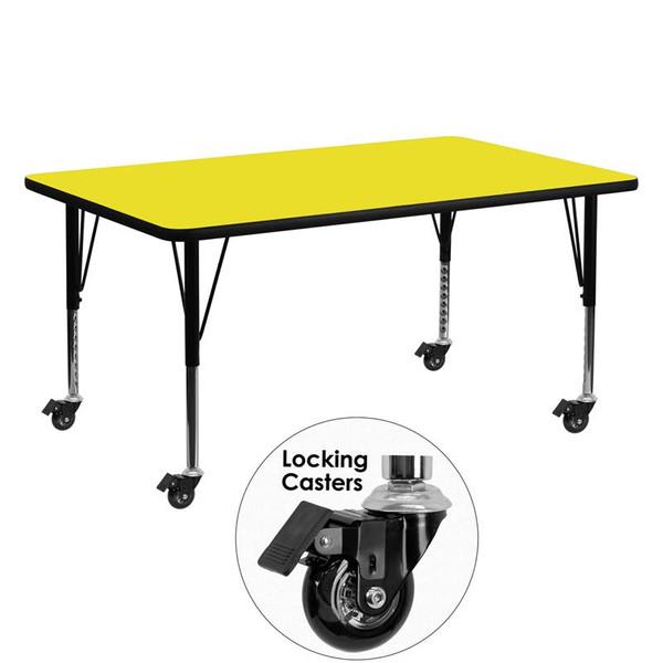 """24x60"""" Activity Table w/ 1.25'' Yellow Top XU-A2460-REC-YEL-H-P-CAS-GG"""