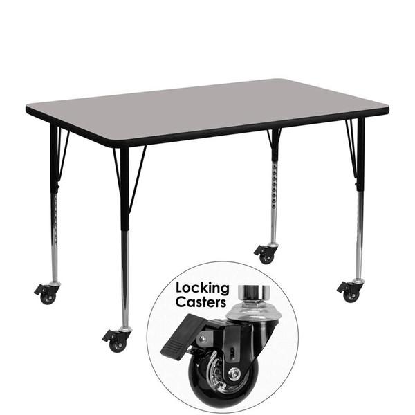 """30x48"""" Activity Table Grey Top & Adj. Legs XU-A3048-REC-GY-H-A-CAS-GG"""