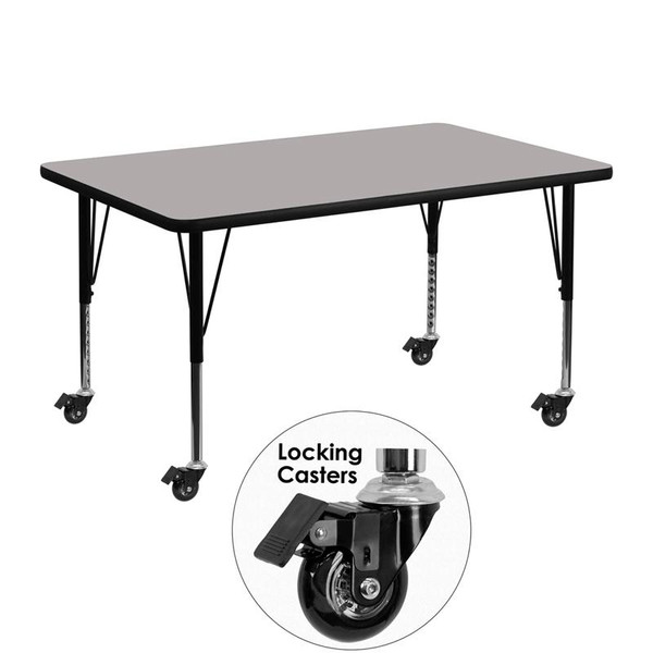 """30x48"""" Activity Table w/ 1.25'' Grey Top XU-A3048-REC-GY-H-P-CAS-GG"""