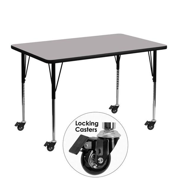 """30x48"""" Activity Table w/Grey Top XU-A3048-REC-GY-T-A-CAS-GG"""