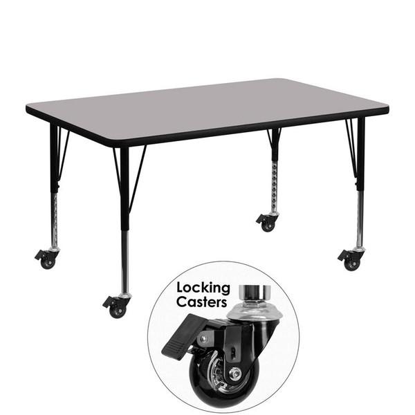 """Mobile 30x48"""" Activity Table w/ Grey Top XU-A3048-REC-GY-T-P-CAS-GG"""