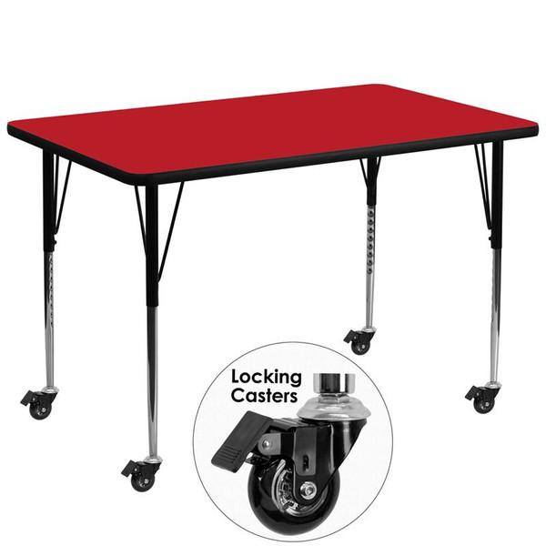 """36x72"""" Activity Table Red Top & Adj. Legs XU-A3672-REC-RED-H-A-CAS-GG"""