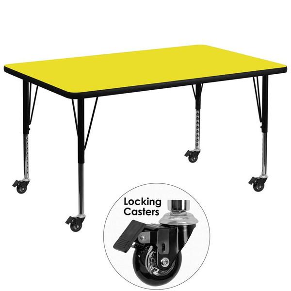 """36x72"""" Activity Table w/ 1.25'' Yellow Top XU-A3672-REC-YEL-H-P-CAS-GG"""
