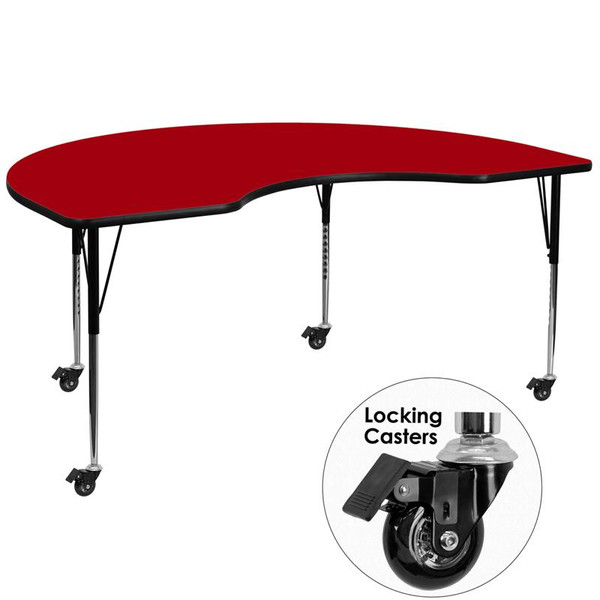 """48x72"""" Kidney Activity Table w/Red Top XU-A4872-KIDNY-RED-T-A-CAS-GG"""