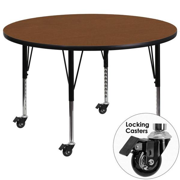 48'' Round Activity Table w/ 1.25'' Oak Top XU-A48-RND-OAK-H-P-CAS-GG