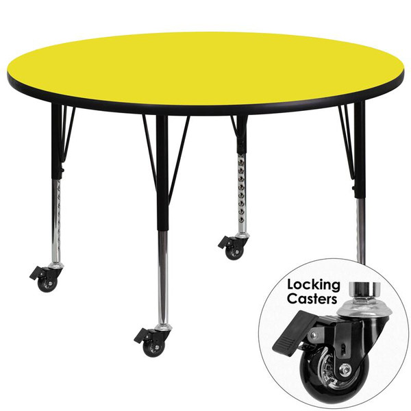 """48"""" Round Activity Table w/1.25"""" Yellow Top XU-A48-RND-YEL-H-P-CAS-GG"""