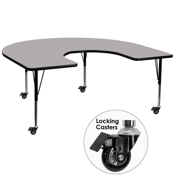 "60x66"" Horseshoe Activity Table w/Grey Top XU-A6066-HRSE-GY-T-P-CAS-GG"