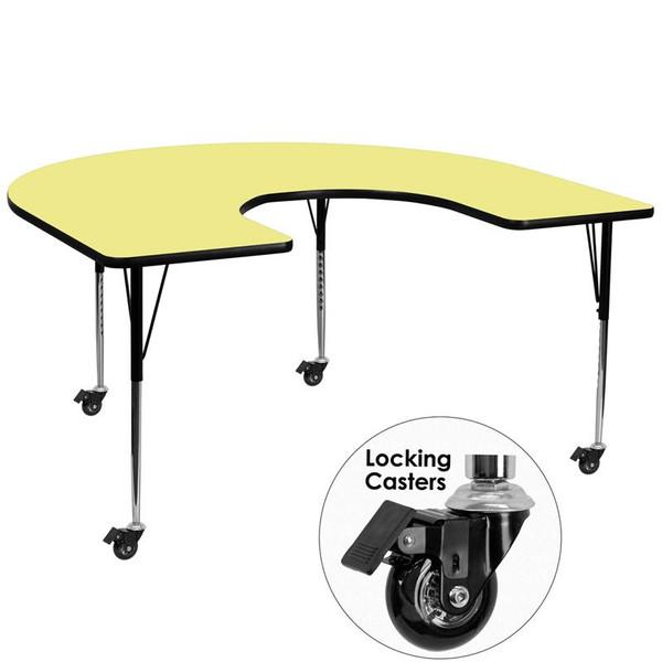 60x66 Horseshoe Activity Table Yellow Top XU-A6066-HRSE-YEL-T-A-CAS-GG