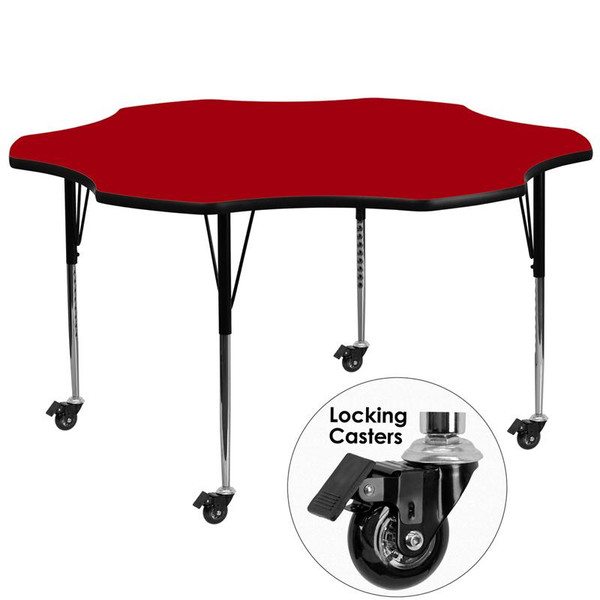 """60"""" Flower Activity Table w/Red Top XU-A60-FLR-RED-T-A-CAS-GG"""