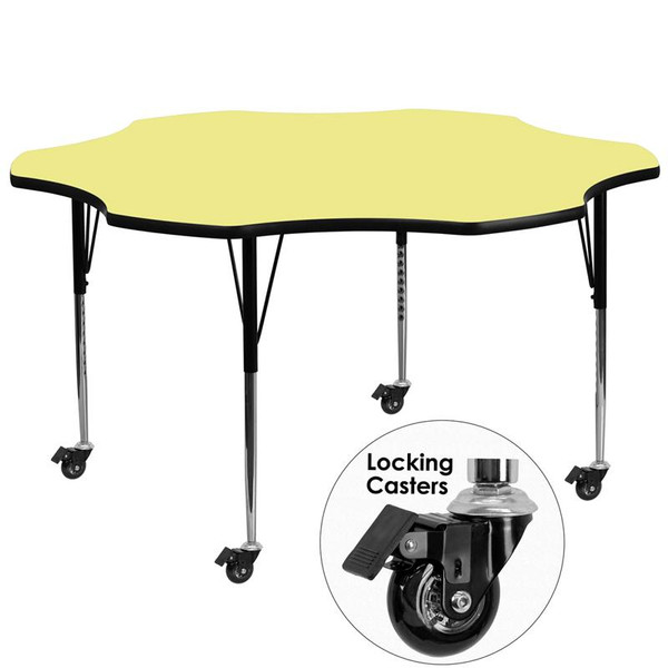 "60"" Flower Activity Table w/Yellow Top XU-A60-FLR-YEL-T-A-CAS-GG"