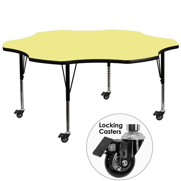 60'' Flower Activity Table w/ Yellow Top XU-A60-FLR-YEL-T-P-CAS-GG