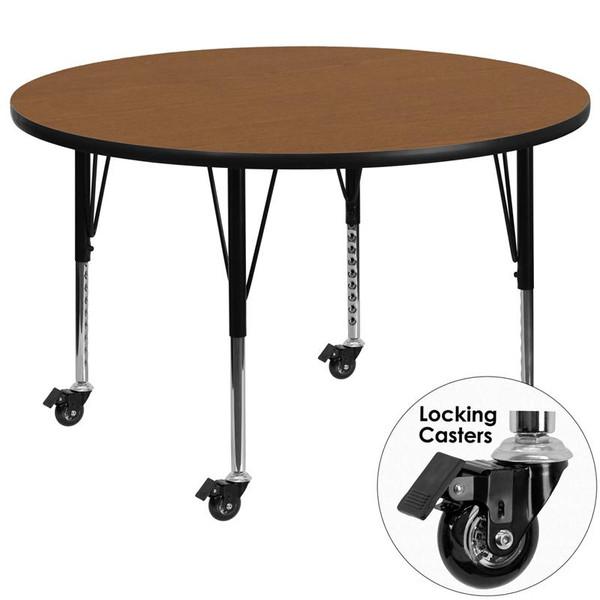 Mobile 60'' Round Activity Table w/ Oak Top XU-A60-RND-OAK-T-P-CAS-GG