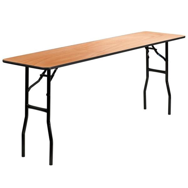 "18x72""Wood Folding Training Table w/Clear Top YT-WTFT18X72-TBL-GG"