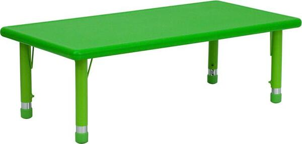 "24x48"" Adj. Ht. Green Activity Table YU-YCX-001-2-RECT-TBL-GREEN-GG"