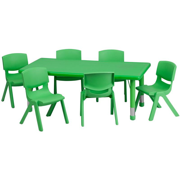"""24x48"""" Activity Table w/6 Chairs YU-YCX-0013-2-RECT-TBL-GREEN-E-GG"""