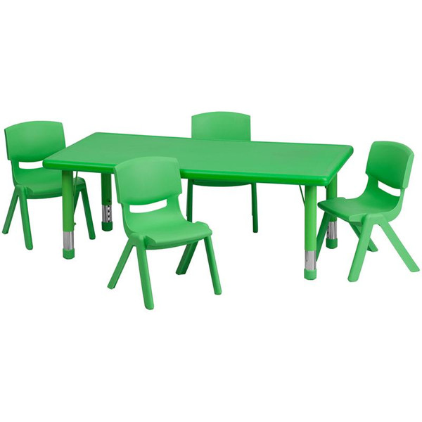 "24x48"" Activity Table w/4 Chairs YU-YCX-0013-2-RECT-TBL-GREEN-R-GG"