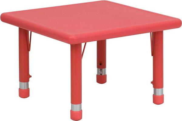 "24"" Sq. Ht. Adj. Red Activity Table YU-YCX-002-2-SQR-TBL-RED-GG"