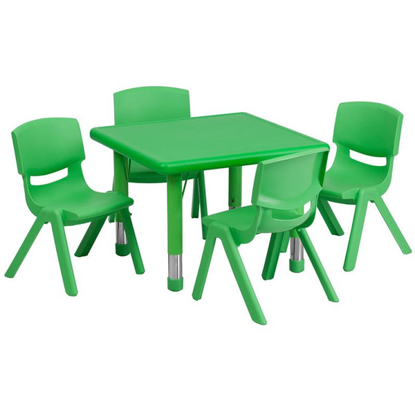 "24"" Sq. Activity Table w/4 Chairs YU-YCX-0023-2-SQR-TBL-GREEN-E-GG"