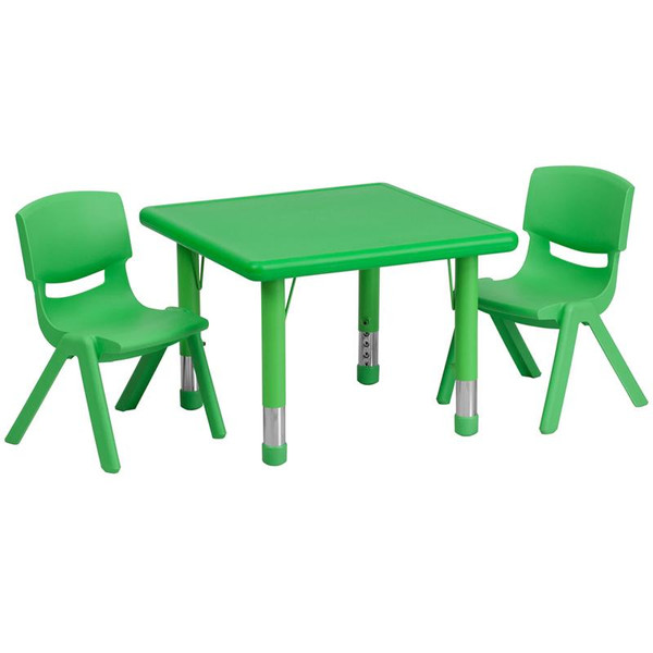"24"" Sq. Activity Table w/2 Chairs YU-YCX-0023-2-SQR-TBL-GREEN-R-GG"