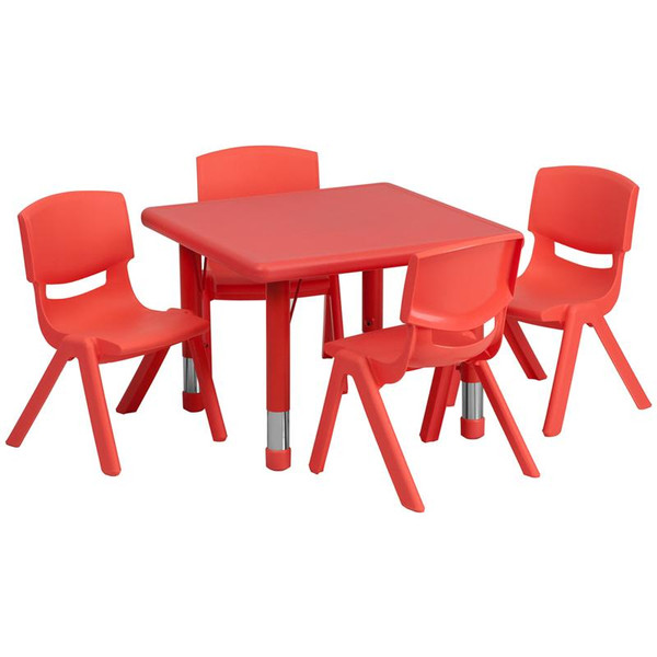 "24"" Sq. Activity Table w/4 Chairs YU-YCX-0023-2-SQR-TBL-RED-E-GG"