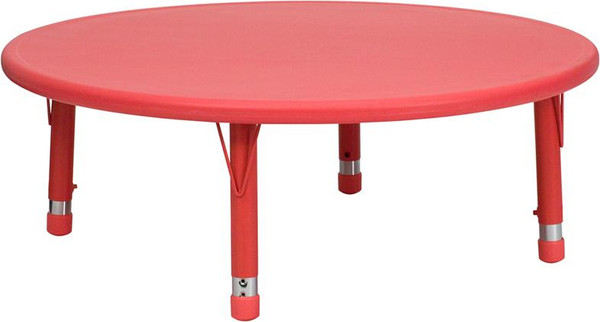 """45"""" Round Red Plastic Activity Table YU-YCX-005-2-Rd.-TBL-RED-GG"""