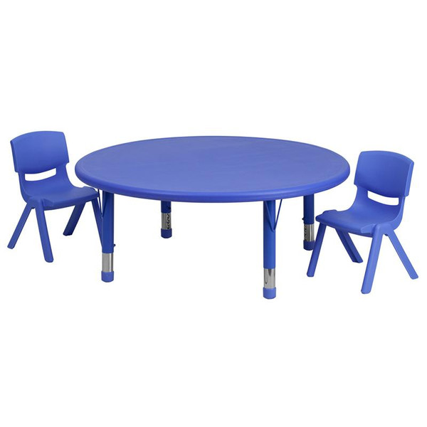 """45"""" Rd. Activity Table w/2 Chairs YU-YCX-0053-2-Rd.-TBL-BLUE-R-GG"""