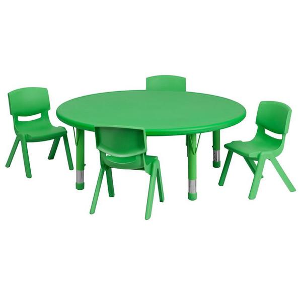 "45"" Rd. Activity Table w/4 Chairs YU-YCX-0053-2-Rd.-TBL-GREEN-E-GG"