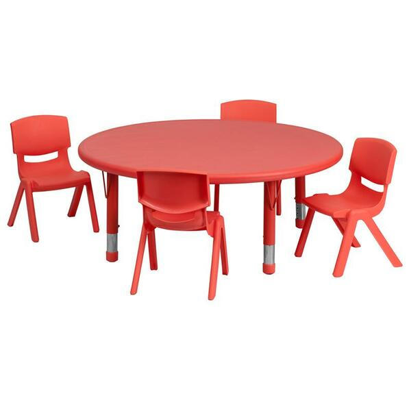 """45"""" Rd. Activity Table w/4 Chairs YU-YCX-0053-2-Rd.-TBL-RED-E-GG"""