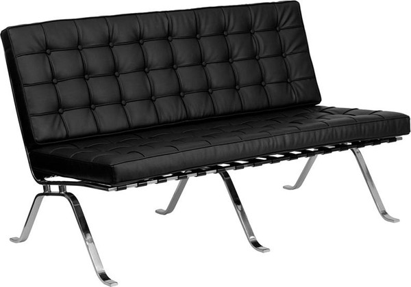 Hercules Black Leather Love Seat w/ Curved Legs ZB-FLASH-801-LS-BK-GG