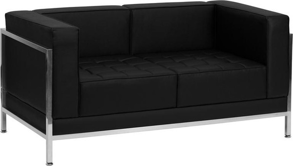 Hercules Black Leather Love Seat w/Encasing Frame ZB-IMAG-LS-GG