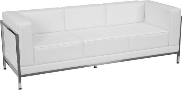 Hercules White Leather Sofa w/Encasing Frame ZB-IMAG-SOFA-WH-GG