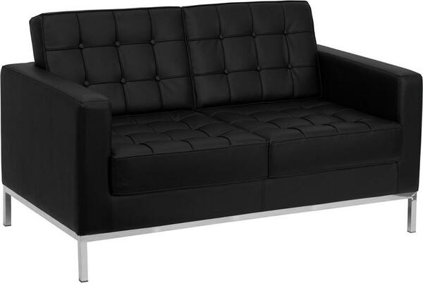 Flash Hercules Lacey Black Leather Love Seat ZB-LACEY-831-2-LS-BK-GG