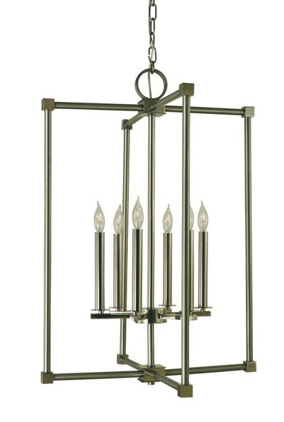 6-Light Brushed Nickel/Polished Nickel Lexington Chandelier 4606
