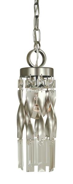 1-Light Satin Pewter/Polished Nickel Adele Mini Pendant 4718 SP/PN