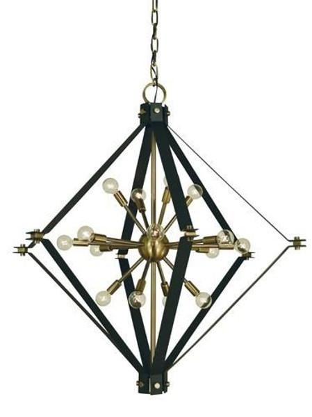 Framburg 16-Light Antique Brass/Matte Black Axis Foyer Chandelier 4820