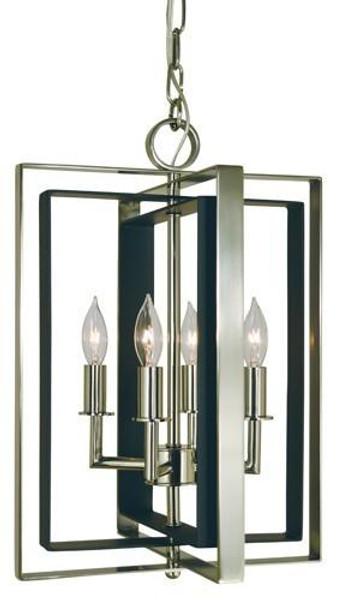 4-Light Antique Brass/Matte Black Symmetry Mini Chandelier 4860