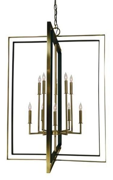 10-Light Antique Brass/Matte Black Symmetry Foyer Chandelier 4868