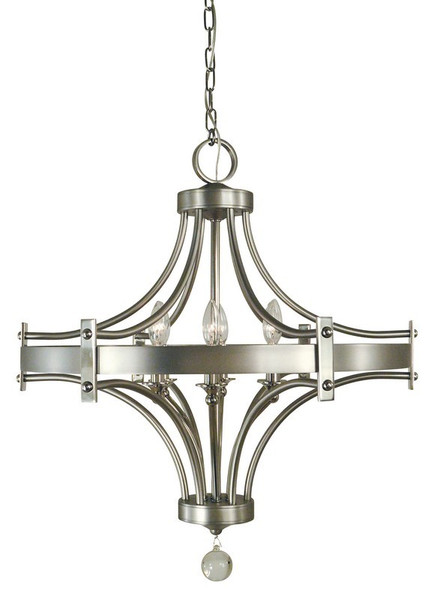 6 Light Satin Pewter/Polished Nickel Regent Chandelier 4920 SP/PN