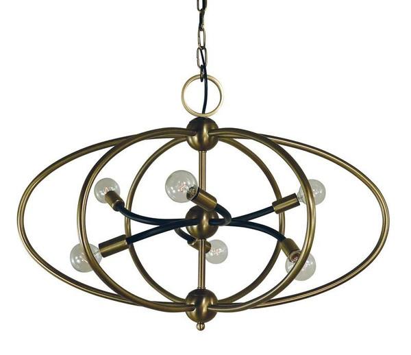 Framburg 6-Light Antique Brass/Matte Black Orbit Chandelier 4948