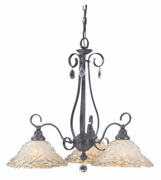 3-Light Mahogany Bronze Liebestraum Dinette Chandelier 9728 MB