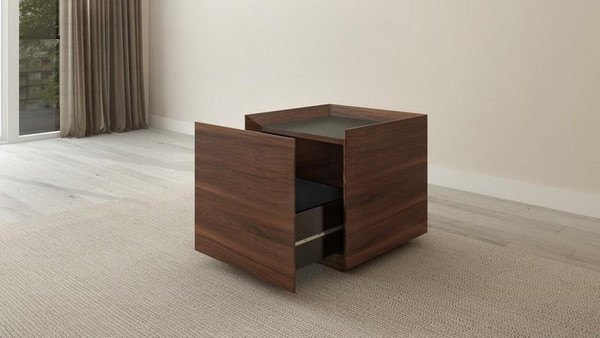 Furnitech Single Drawer Contemporary Walnut End Table FT24ETCF